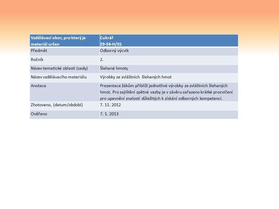 Vzdělávací obor, pro který je materiál určen Cukrář 29-54-H/01 PředmětOdborný výcvik Ročník2.