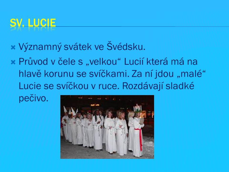 """ Významný svátek ve Švédsku.  Průvod v čele s """"velkou"""" Lucií která má na hlavě korunu se svíčkami. Za ní jdou """"malé"""" Lucie se svíčkou v ruce. Rozdáv"""