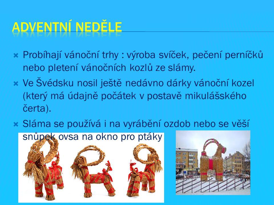  Probíhají vánoční trhy : výroba svíček, pečení perníčků nebo pletení vánočních kozlů ze slámy.  Ve Švédsku nosil ještě nedávno dárky vánoční kozel