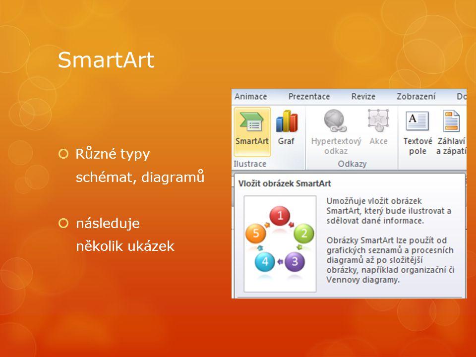 SmartArt  Různé typy schémat, diagramů  následuje několik ukázek