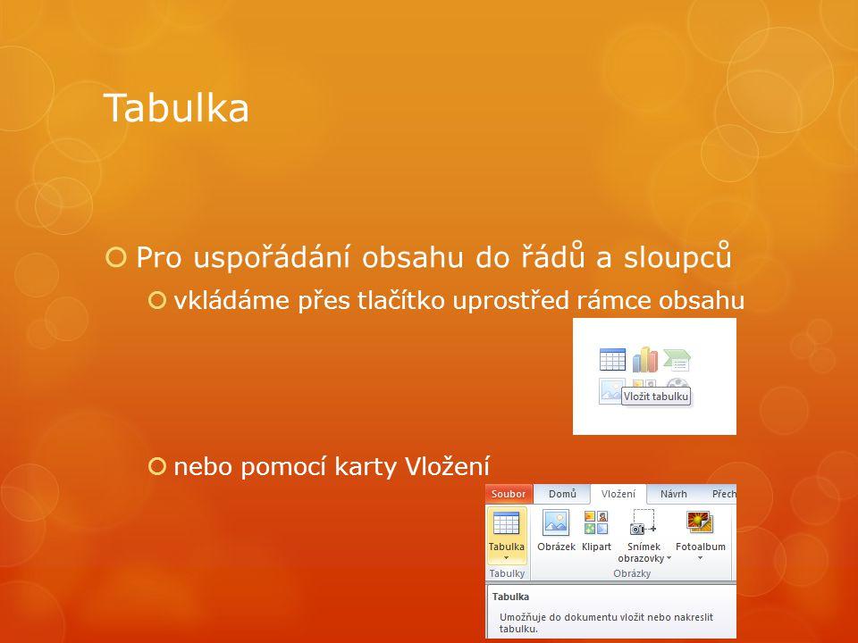 Tabulka  Pro uspořádání obsahu do řádů a sloupců  vkládáme přes tlačítko uprostřed rámce obsahu  nebo pomocí karty Vložení