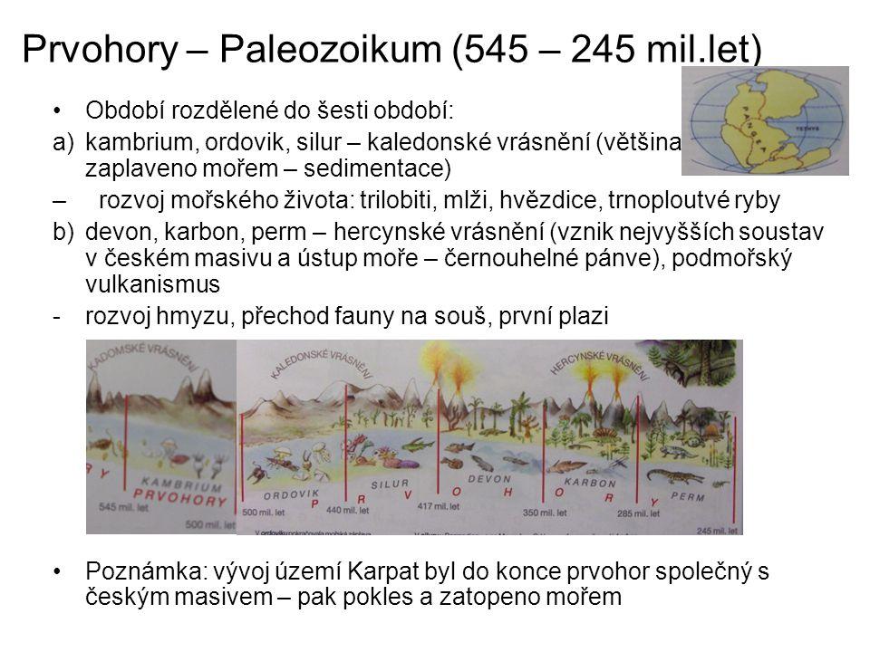 Prvohory – Paleozoikum (545 – 245 mil.let) Období rozdělené do šesti období: a)kambrium, ordovik, silur – kaledonské vrásnění (většina území zaplaveno