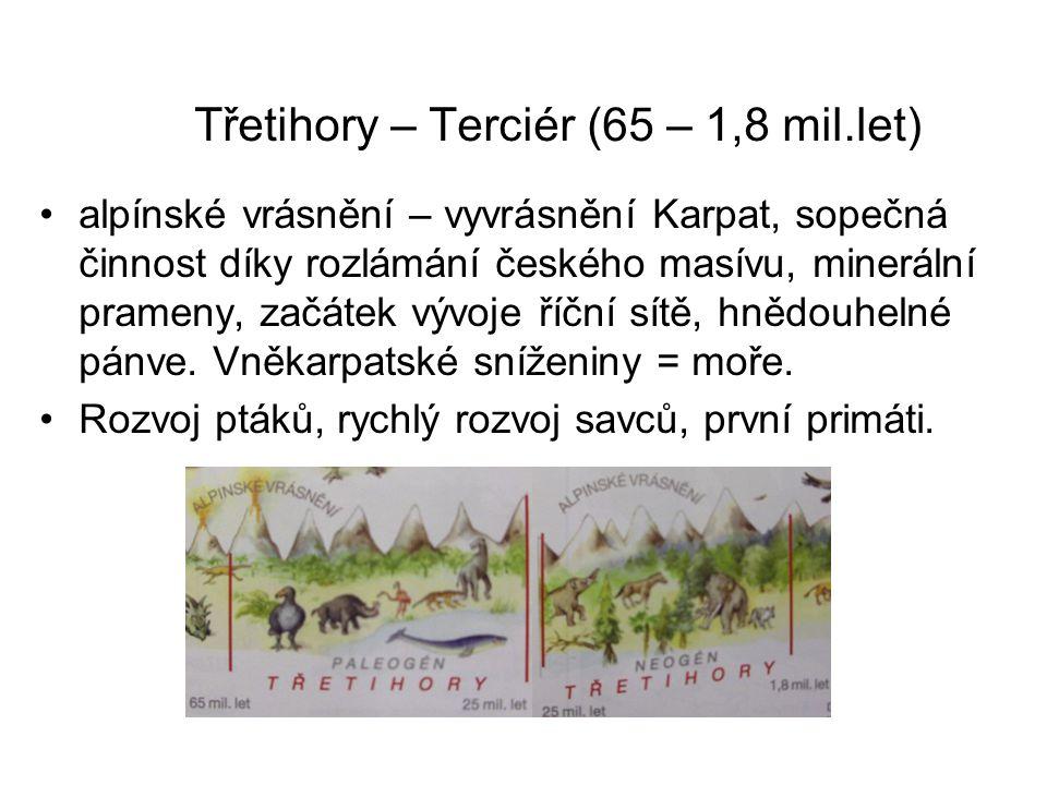 Třetihory – Terciér (65 – 1,8 mil.let) alpínské vrásnění – vyvrásnění Karpat, sopečná činnost díky rozlámání českého masívu, minerální prameny, začáte