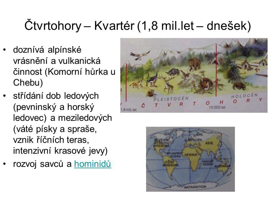 Čtvrtohory – Kvartér (1,8 mil.let – dnešek) doznívá alpínské vrásnění a vulkanická činnost (Komorní hůrka u Chebu) střídání dob ledových (pevninský a