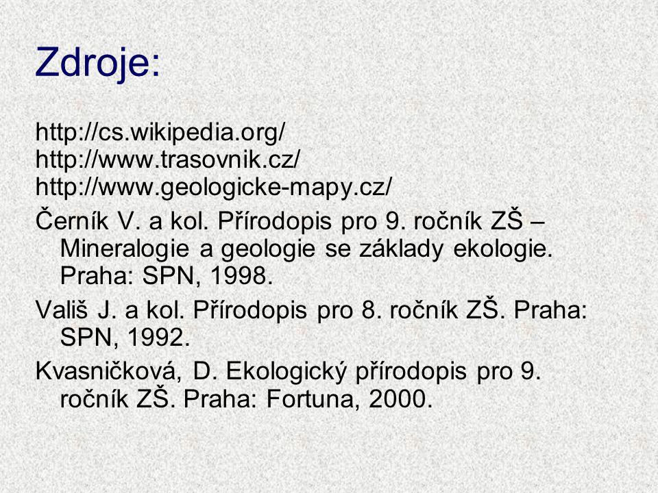 Zdroje: http://cs.wikipedia.org/ http://www.trasovnik.cz/ http://www.geologicke-mapy.cz/ Černík V. a kol. Přírodopis pro 9. ročník ZŠ – Mineralogie a