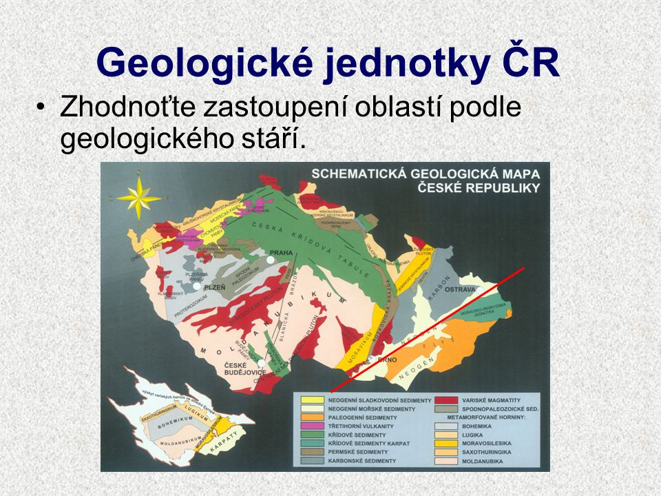 Geologické jednotky ČR Zhodnoťte zastoupení oblastí podle geologického stáří.
