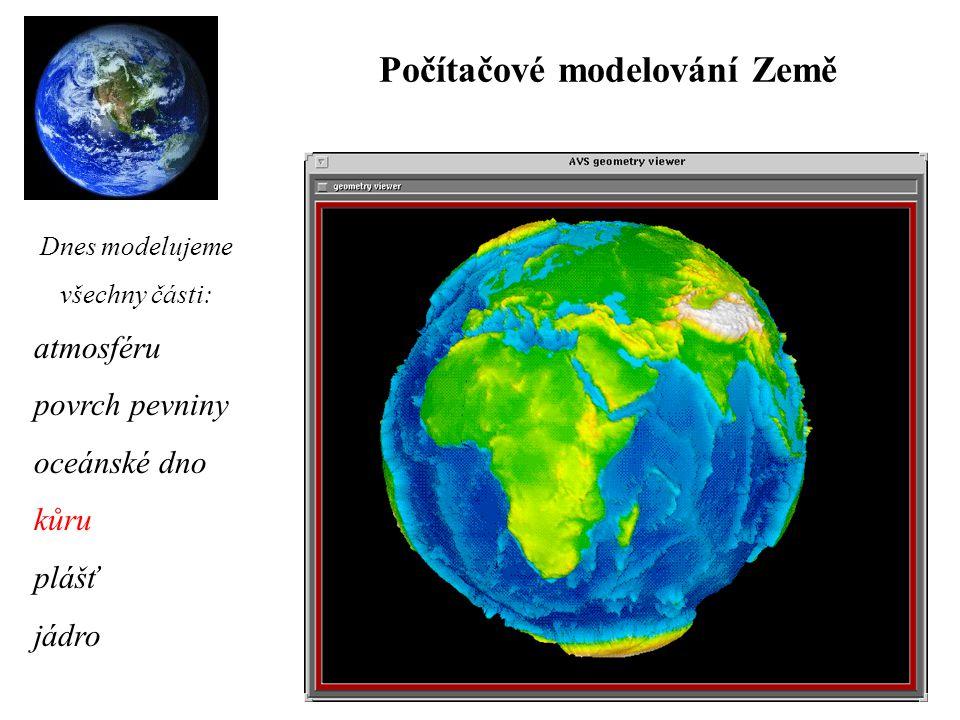 Počítačové modelování Země atmosféru povrch pevniny oceánské dno kůru plášť jádro Dnes modelujeme všechny části: