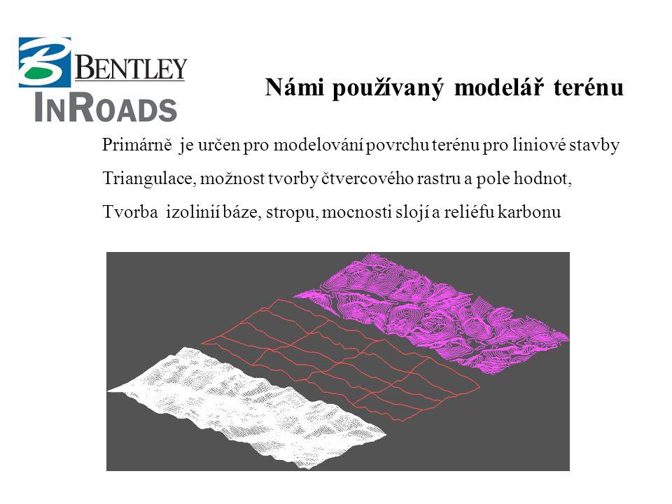 Námi používaný modelář terénu Primárně je určen pro modelování povrchu terénu pro liniové stavby Triangulace, možnost tvorby čtvercového rastru a pole