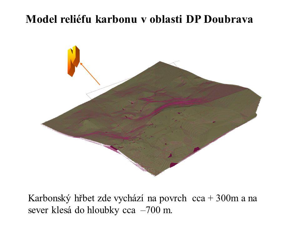 Model reliéfu karbonu v oblasti DP Doubrava Karbonský hřbet zde vychází na povrch cca + 300m a na sever klesá do hloubky cca –700 m.