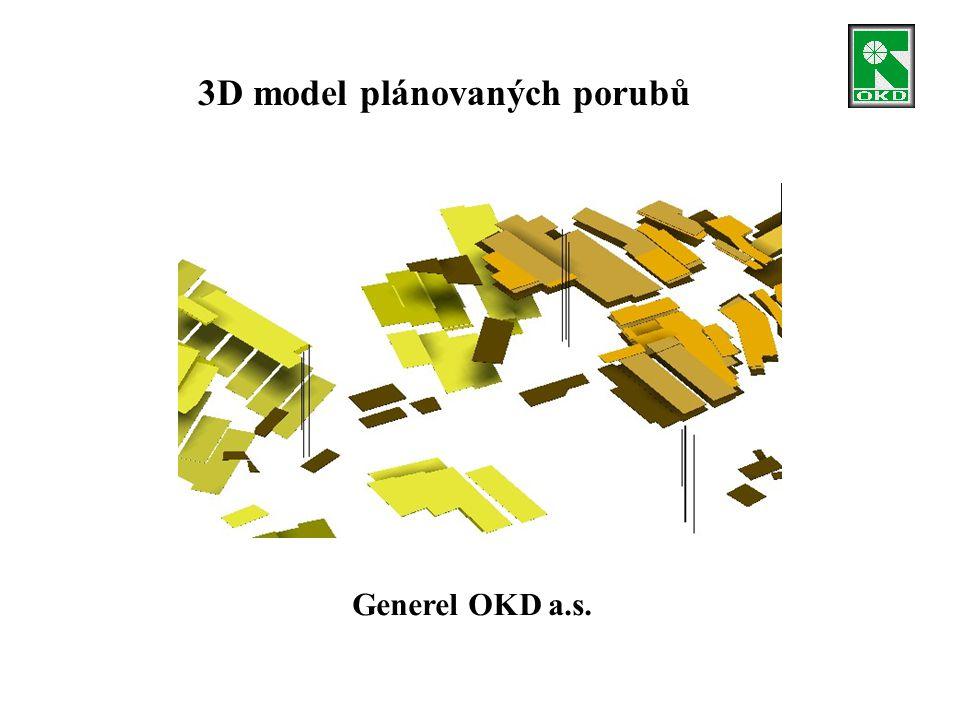 3D model plánovaných porubů Generel OKD a.s.