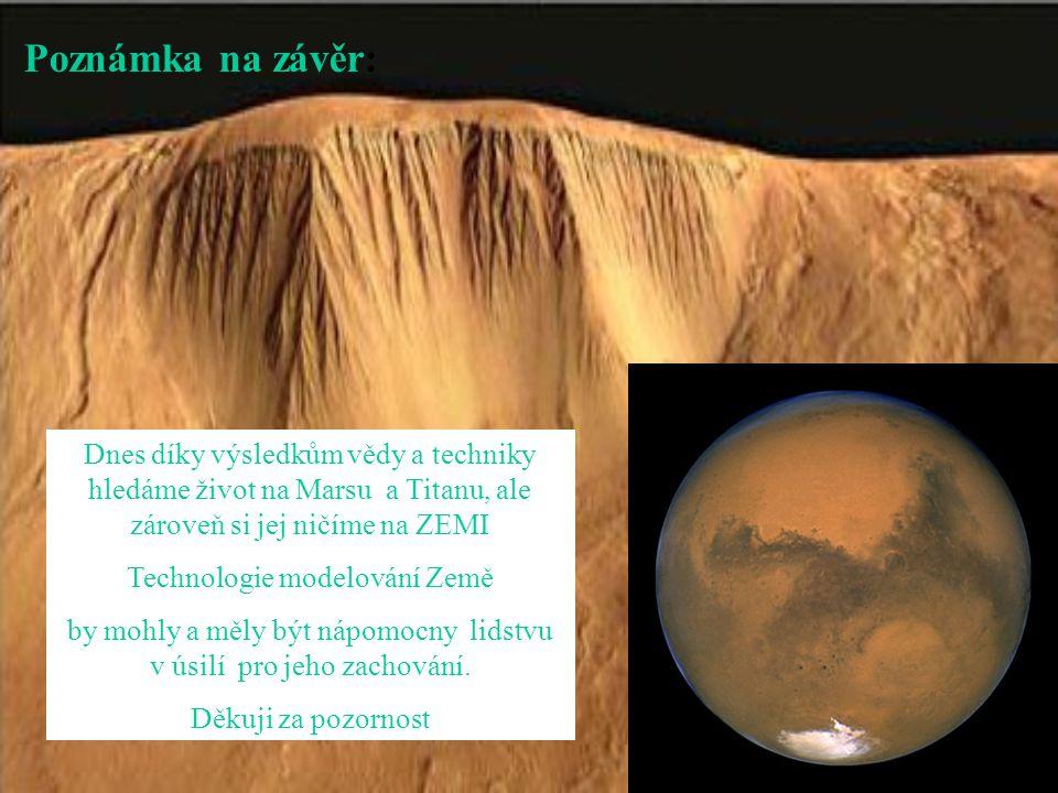 Poznámka na závěr: Dnes díky výsledkům vědy a techniky hledáme život na Marsu a Titanu, ale zároveň si jej ničíme na ZEMI Technologie modelování Země