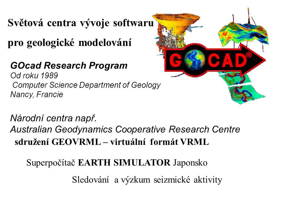 Národní centra např. Australian Geodynamics Cooperative Research Centre GOcad Research Program Od roku 1989 Computer Science Department of Geology Nan