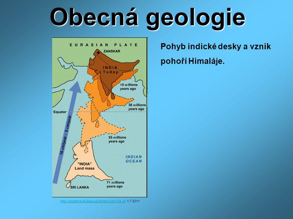 http://geoterra.eu/backup/obrazky/obr13a.gifhttp://geoterra.eu/backup/obrazky/obr13a.gif 1.7.2011 Obecná geologie Pohyb indické desky a vznik pohoří Himaláje.