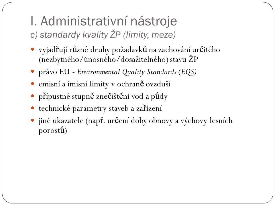 I. Administrativní nástroje c) standardy kvality ŽP (limity, meze) vyjad ř ují r ů zné druhy požadavk ů na zachování ur č itého (nezbytného/únosného/d