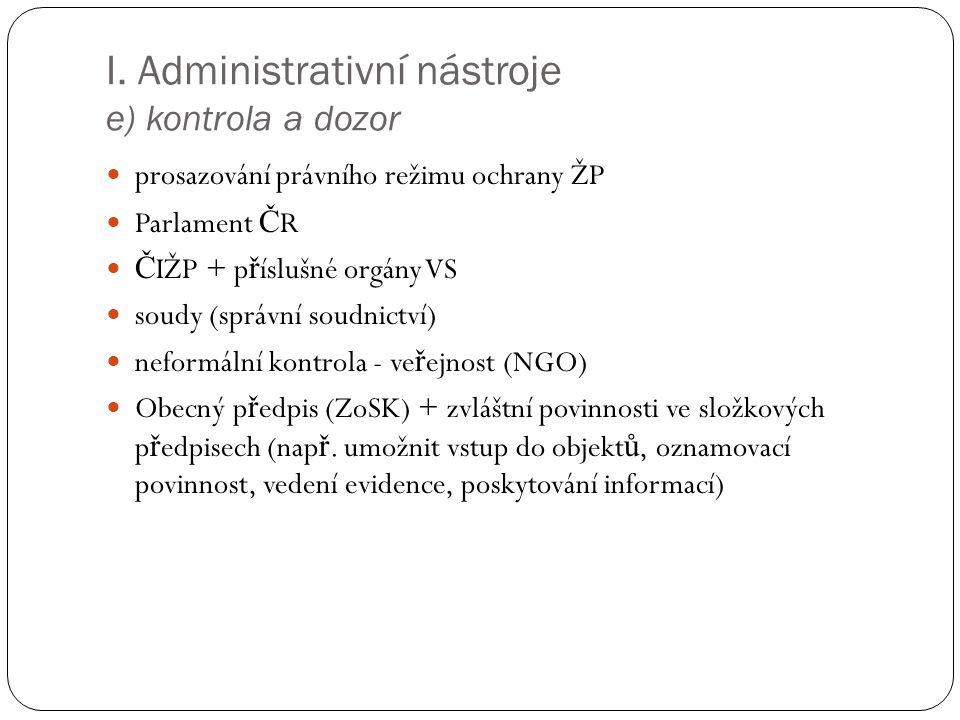 I. Administrativní nástroje e) kontrola a dozor prosazování právního režimu ochrany ŽP Parlament Č R Č IŽP + p ř íslušné orgány VS soudy (správní soud