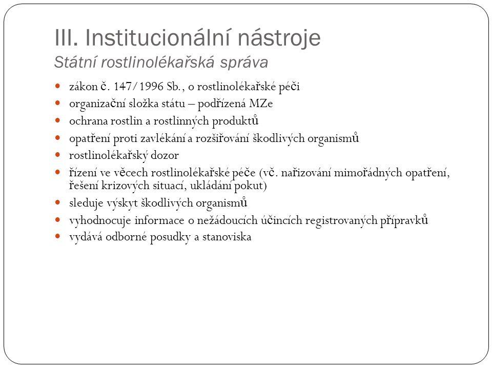 III. Institucionální nástroje Státní rostlinolékařská správa zákon č.