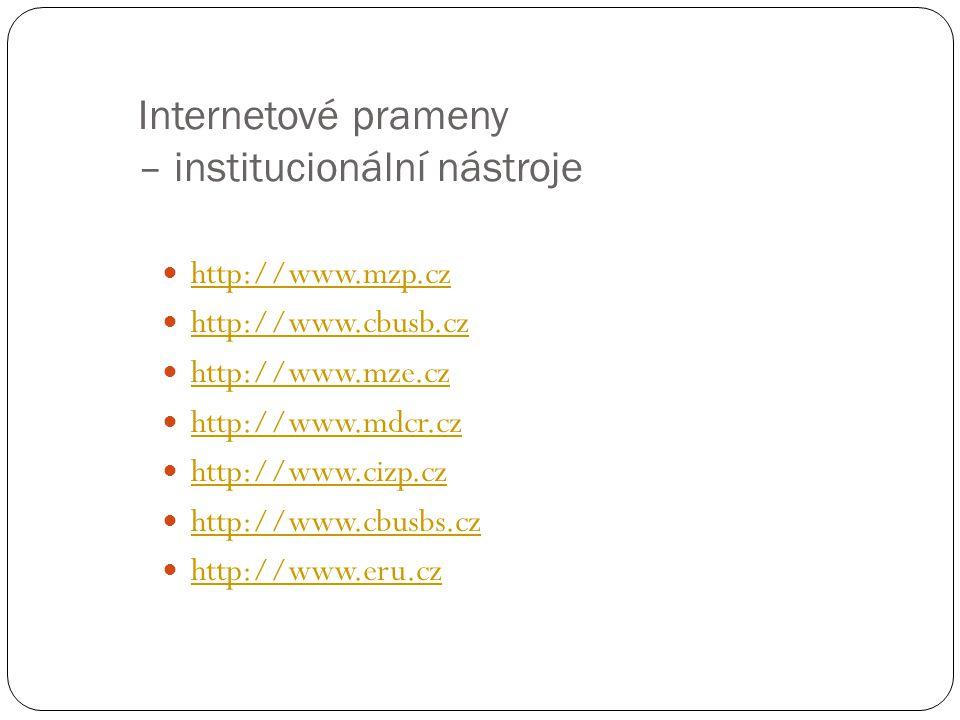 Internetové prameny – institucionální nástroje http://www.mzp.cz http://www.cbusb.cz http://www.mze.cz http://www.mdcr.cz http://www.cizp.cz http://www.cbusbs.cz http://www.eru.cz 29
