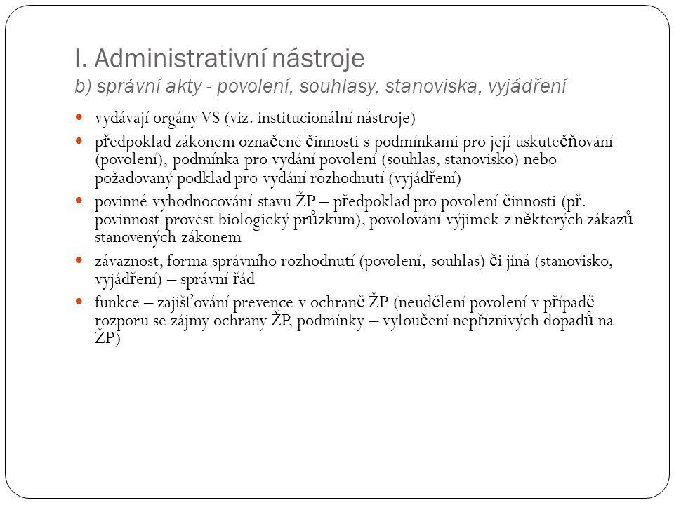 I. Administrativní nástroje b) správní akty - povolení, souhlasy, stanoviska, vyjádření vydávají orgány VS (viz. institucionální nástroje) p ř edpokla