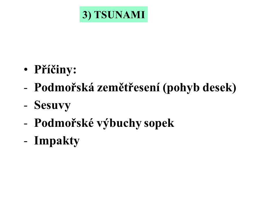 Příčiny: -Podmořská zemětřesení (pohyb desek) -Sesuvy -Podmořské výbuchy sopek -Impakty 3) TSUNAMI