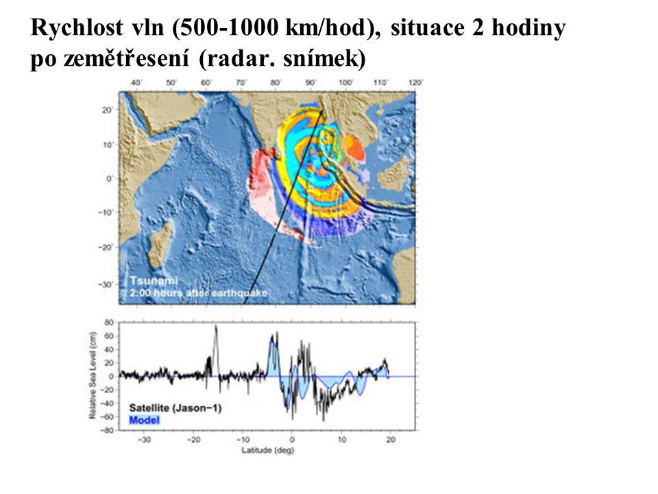 Rychlost vln (500-1000 km/hod), situace 2 hodiny po zemětřesení (radar. snímek)