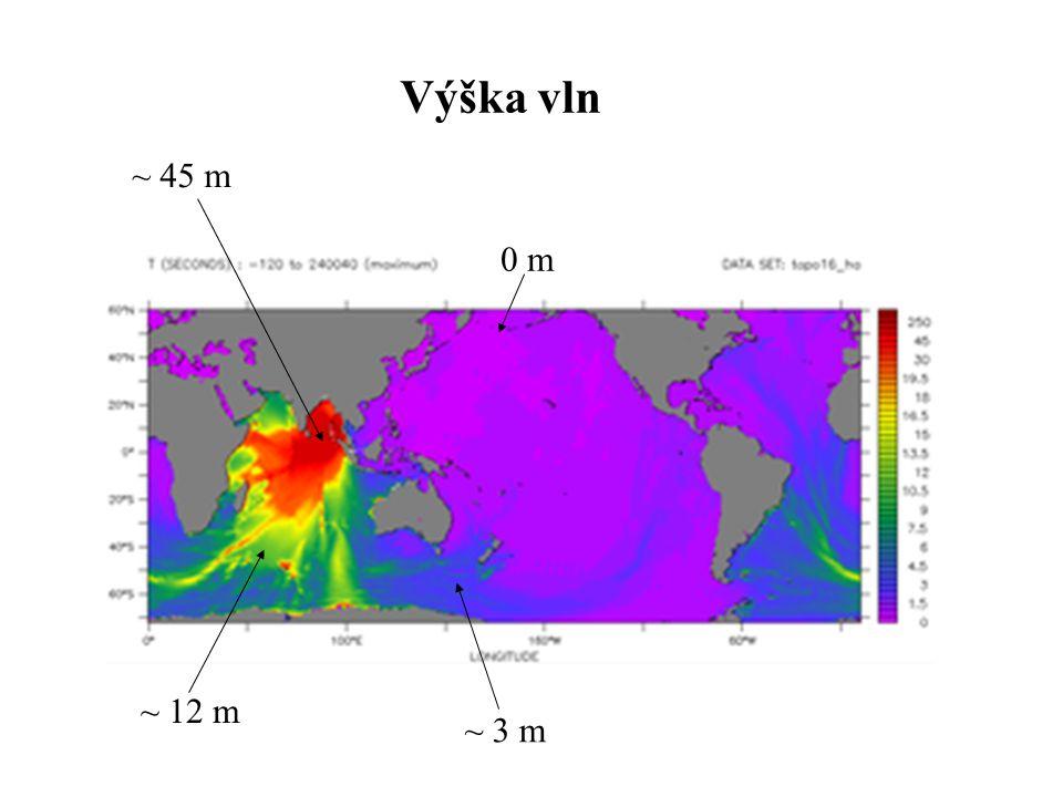 Výška vln ~ 45 m ~ 12 m ~ 3 m 0 m