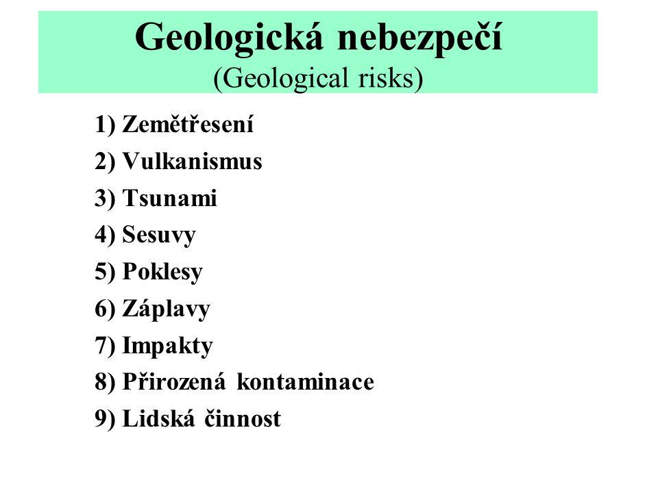 Geologická nebezpečí (Geological risks) 1) Zemětřesení 2) Vulkanismus 3) Tsunami 4) Sesuvy 5) Poklesy 6) Záplavy 7) Impakty 8) Přirozená kontaminace 9