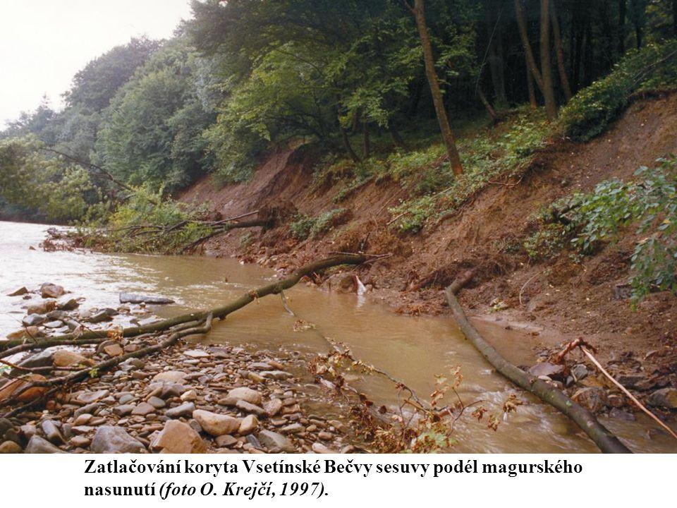 Zatlačování koryta Vsetínské Bečvy sesuvy podél magurského nasunutí (foto O. Krejčí, 1997).