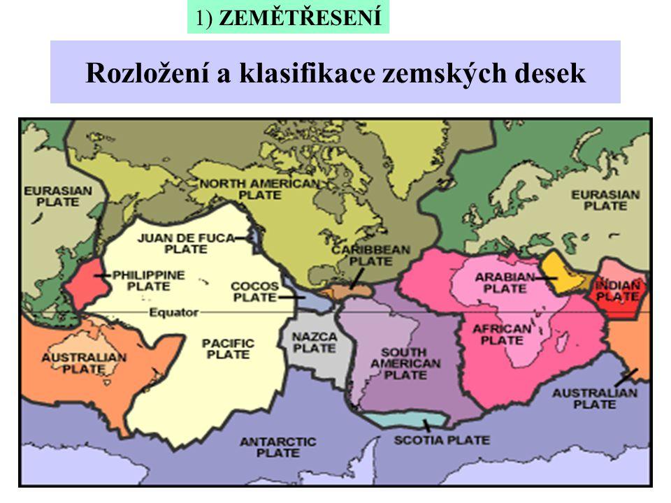 Rozložení a klasifikace zemských desek 1) ZEMĚTŘESENÍ