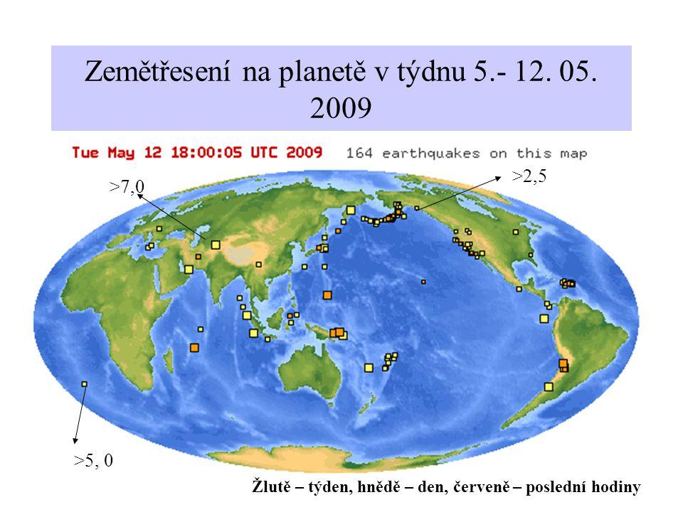 Zemětřesení na planetě v týdnu 5.- 12. 05. 2009 >2,5 >5, 0 >7,0 Žlutě – týden, hnědě – den, červeně – poslední hodiny