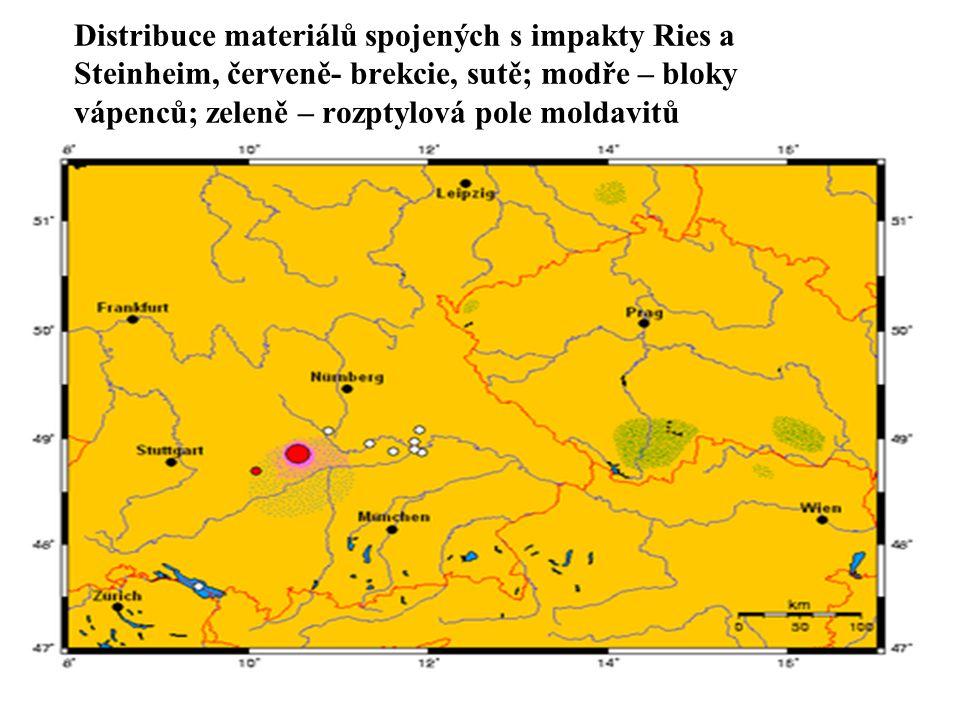 Distribuce materiálů spojených s impakty Ries a Steinheim, červeně- brekcie, sutě; modře – bloky vápenců; zeleně – rozptylová pole moldavitů