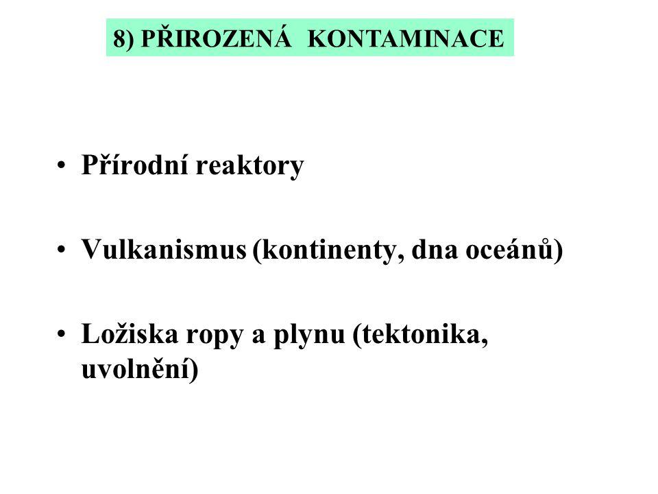 Přírodní reaktory Vulkanismus (kontinenty, dna oceánů) Ložiska ropy a plynu (tektonika, uvolnění) 8) PŘIROZENÁ KONTAMINACE