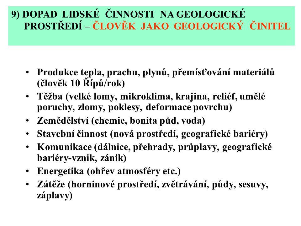 Produkce tepla, prachu, plynů, přemísťování materiálů (člověk 10 Řípů/rok) Těžba (velké lomy, mikroklima, krajina, reliéf, umělé poruchy, zlomy, pokle