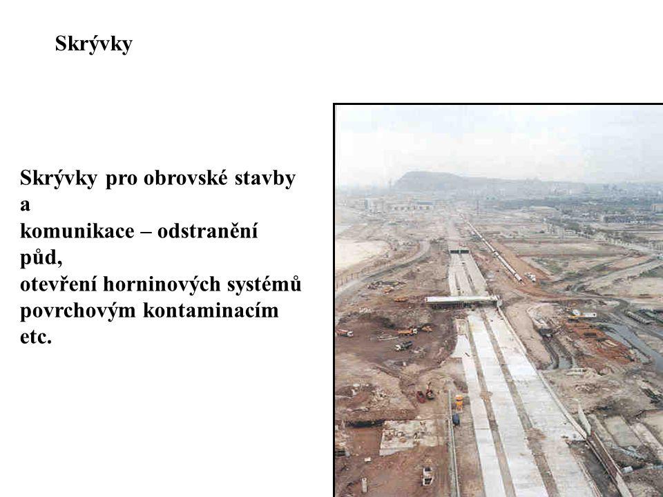 Skrývky pro obrovské stavby a komunikace – odstranění půd, otevření horninových systémů povrchovým kontaminacím etc. Skrývky