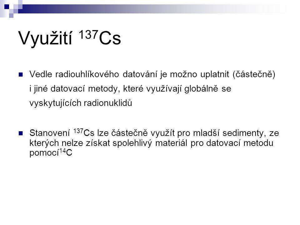 Využití 137 Cs Vedle radiouhlíkového datování je možno uplatnit (částečně) i jiné datovací metody, které využívají globálně se vyskytujících radionukl