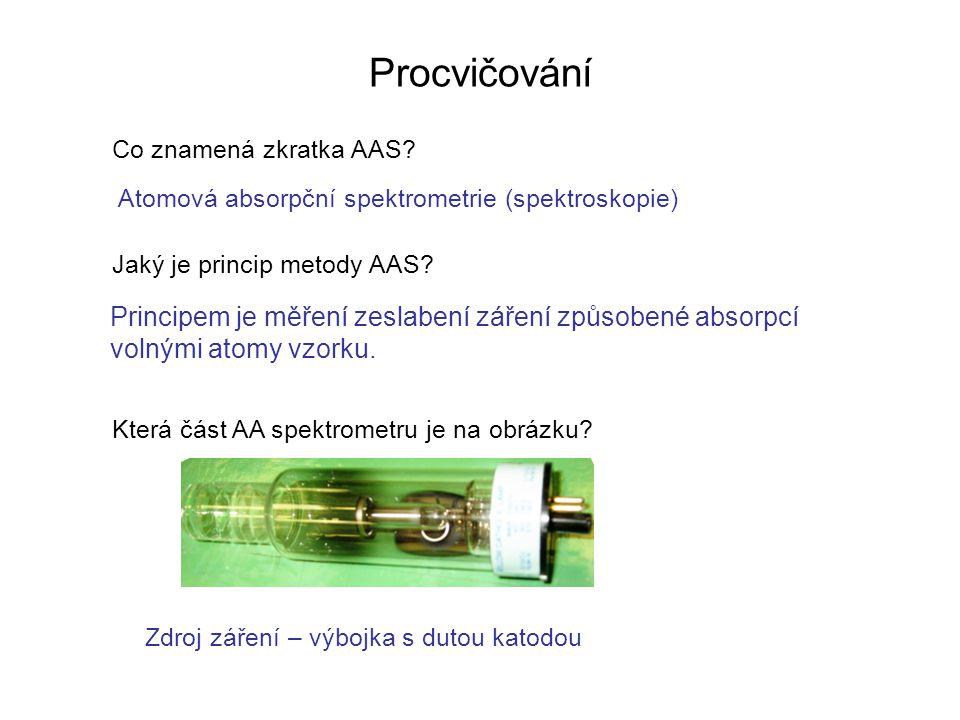 Procvičování Co znamená zkratka AAS.Jaký je princip metody AAS.