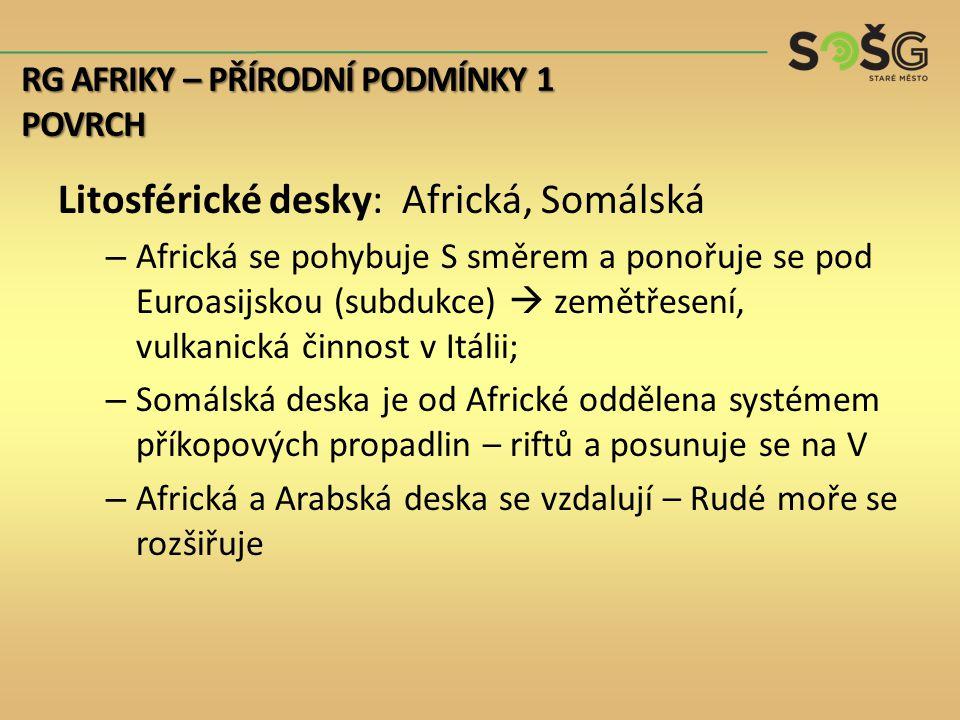 Litosférické desky: Africká, Somálská – Africká se pohybuje S směrem a ponořuje se pod Euroasijskou (subdukce)  zemětřesení, vulkanická činnost v Itálii; – Somálská deska je od Africké oddělena systémem příkopových propadlin – riftů a posunuje se na V – Africká a Arabská deska se vzdalují – Rudé moře se rozšiřuje RG AFRIKY – PŘÍRODNÍ PODMÍNKY 1 POVRCH