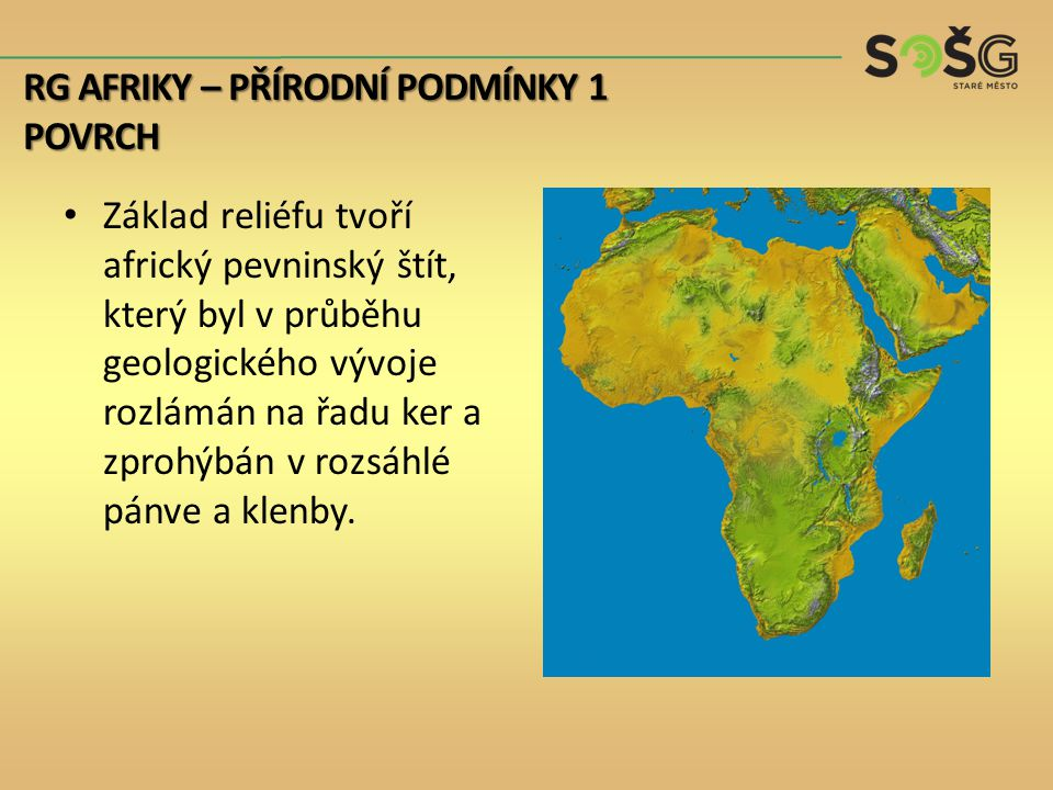 Základ reliéfu tvoří africký pevninský štít, který byl v průběhu geologického vývoje rozlámán na řadu ker a zprohýbán v rozsáhlé pánve a klenby. RG AF