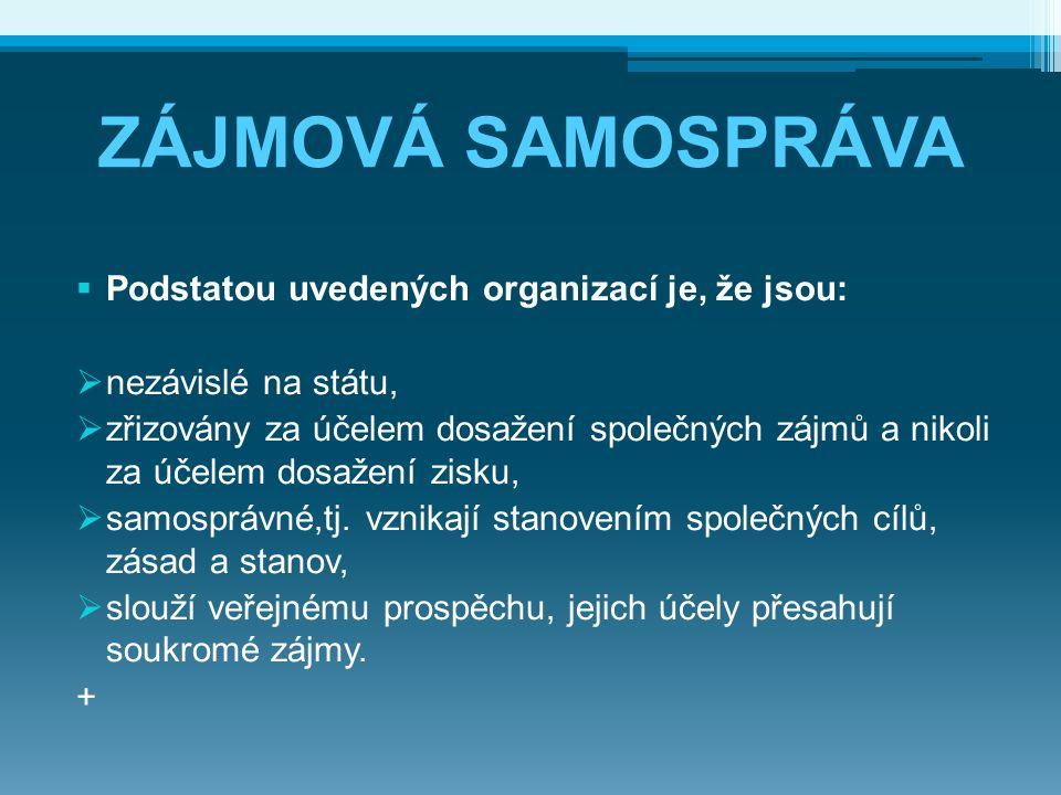 ZÁJMOVÁ SAMOSPRÁVA  Podstatou uvedených organizací je, že jsou:  nezávislé na státu,  zřizovány za účelem dosažení společných zájmů a nikoli za úče