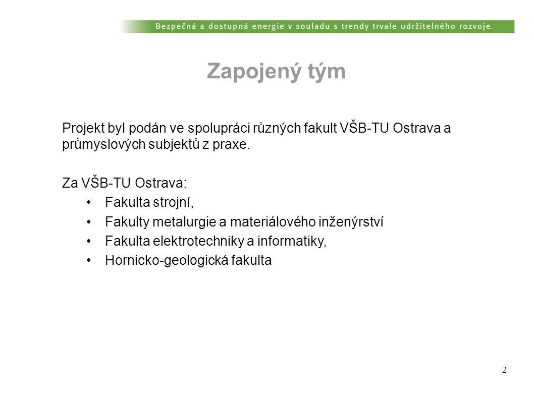 2 Projekt byl podán ve spolupráci různých fakult VŠB-TU Ostrava a průmyslových subjektů z praxe.