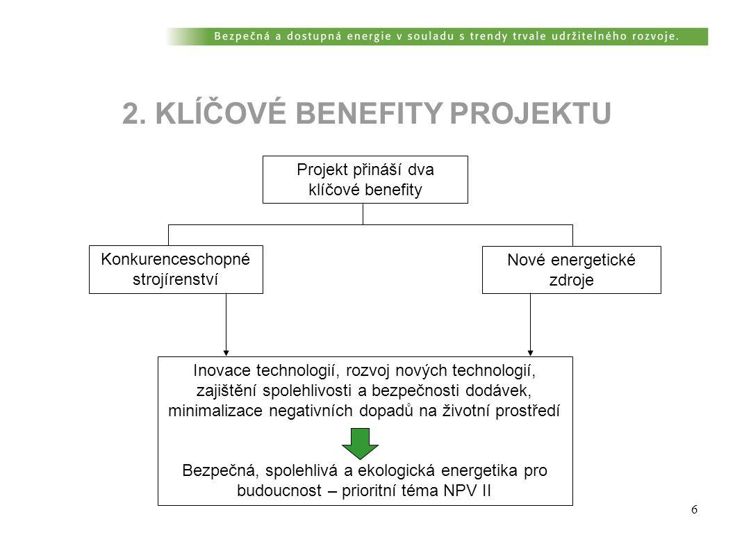 6 2. KLÍČOVÉ BENEFITY PROJEKTU Projekt přináší dva klíčové benefity Konkurenceschopné strojírenství Nové energetické zdroje Inovace technologií, rozvo