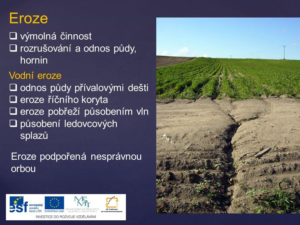 Eroze  výmolná činnost  rozrušování a odnos půdy, hornin Vodní eroze  odnos půdy přívalovými dešti  eroze říčního koryta  eroze pobřeží působením