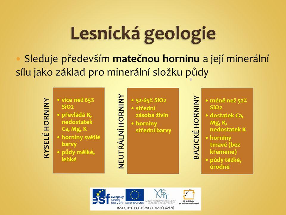 Sleduje především matečnou horninu a její minerální sílu jako základ pro minerální složku půdy KYSELÉ HORNINY více než 65% SiO2 převládá K, nedostatek Ca, Mg, K horniny světlé barvy půdy mělké, lehké NEUTRÁLNÍ HORNINY 52-65% SiO2 střední zásoba živin horniny střední barvy BAZICKÉ HORNINY méně než 52% SiO2 dostatek Ca, Mg, K, nedostatek K horniny tmavé (bez křemene) půdy těžké, úrodné