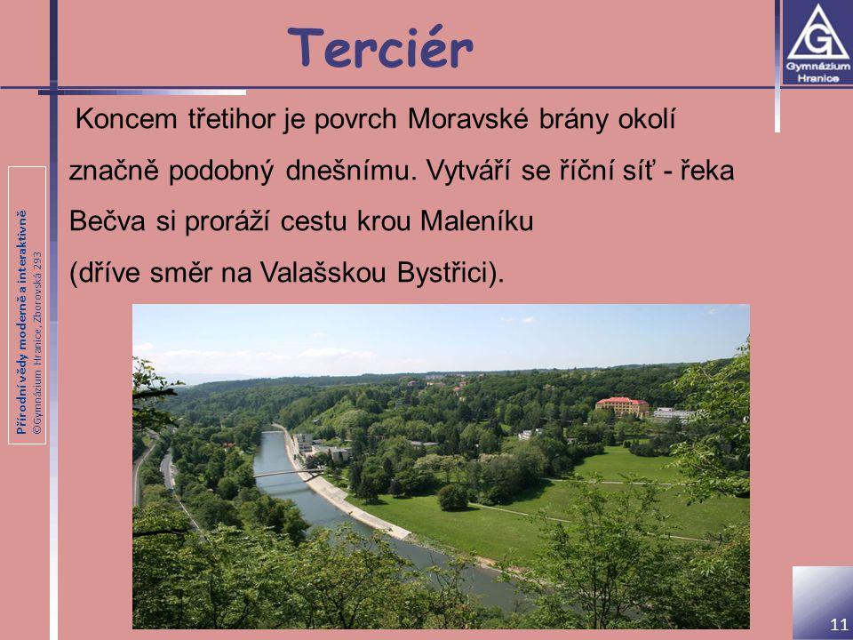 Přírodní vědy moderně a interaktivně ©Gymnázium Hranice, Zborovská 293 Terciér Koncem třetihor je povrch Moravské brány okolí značně podobný dnešnímu.