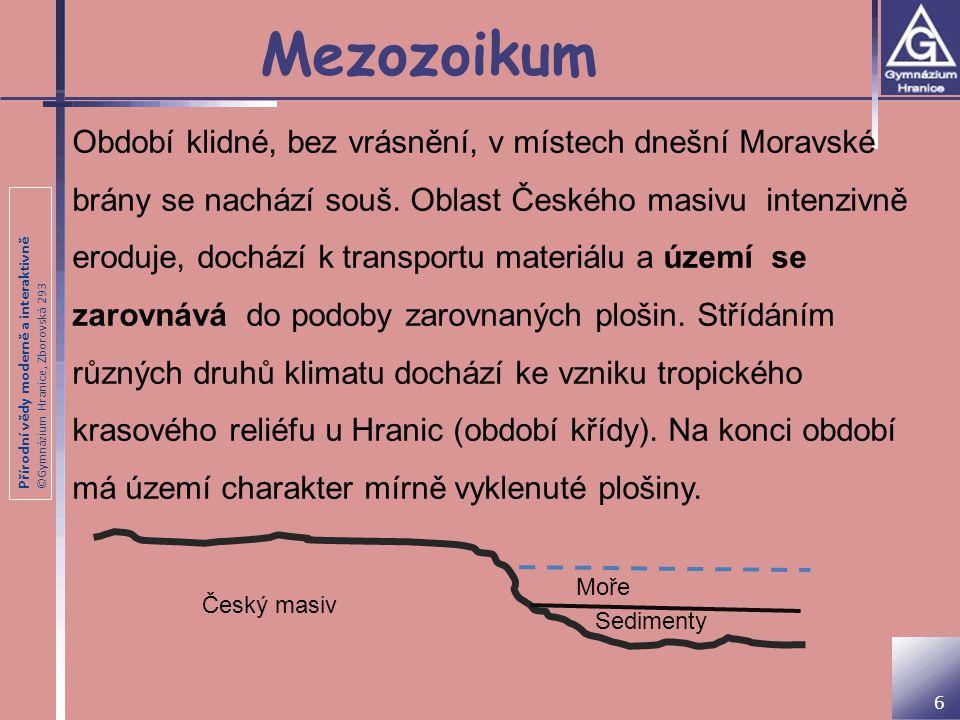 Přírodní vědy moderně a interaktivně ©Gymnázium Hranice, Zborovská 293 Mezozoikum Období klidné, bez vrásnění, v místech dnešní Moravské brány se nach
