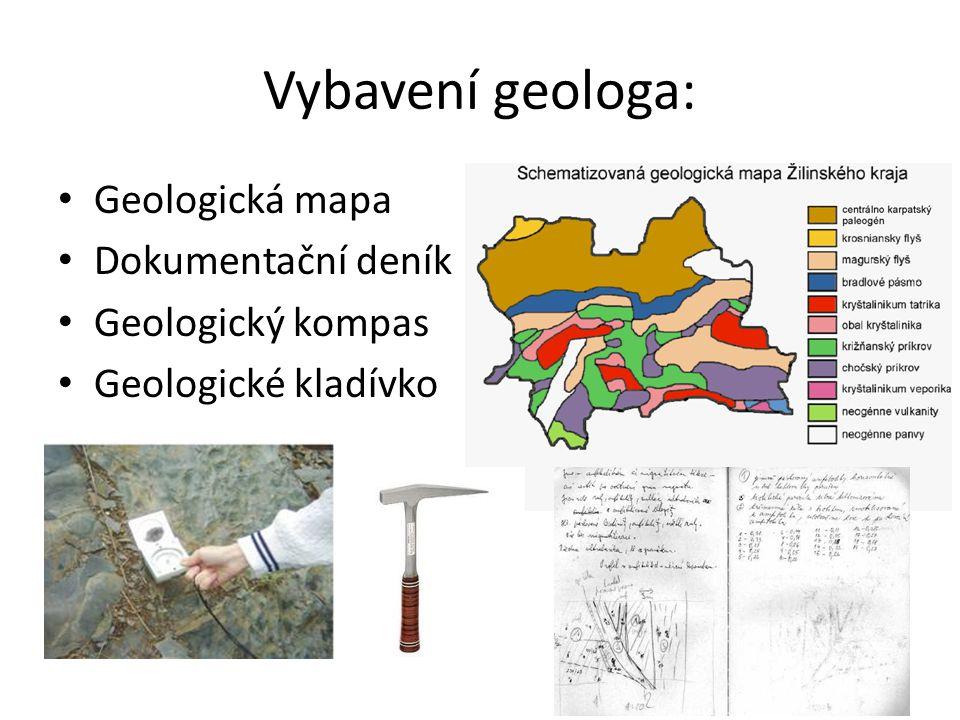 Vybavení geologa: Geologická mapa Dokumentační deník Geologický kompas Geologické kladívko
