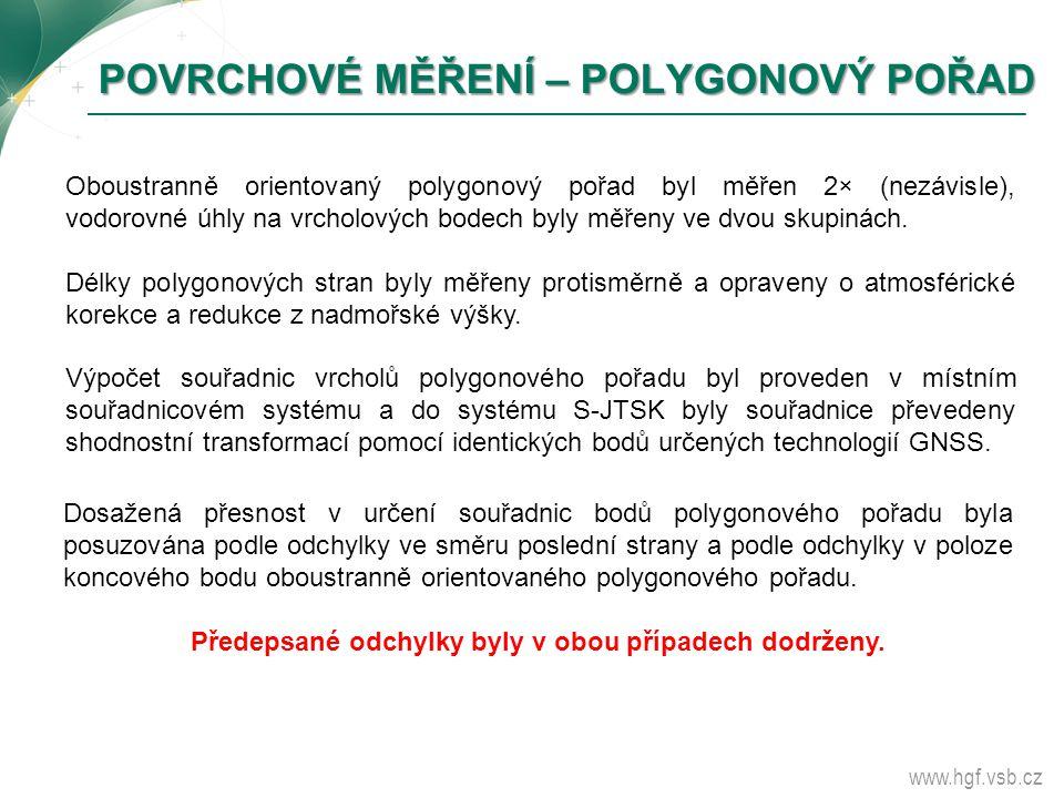 www.hgf.vsb.cz POVRCHOVÉ MĚŘENÍ – POLYGONOVÝ POŘAD POVRCHOVÉ MĚŘENÍ – POLYGONOVÝ POŘAD Oboustranně orientovaný polygonový pořad byl měřen 2× (nezávisl