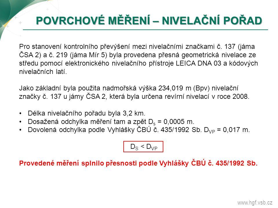 www.hgf.vsb.cz POVRCHOVÉ MĚŘENÍ – NIVELAČNÍ POŘAD POVRCHOVÉ MĚŘENÍ – NIVELAČNÍ POŘAD Pro stanovení kontrolního převýšení mezi nivelačními značkami č.