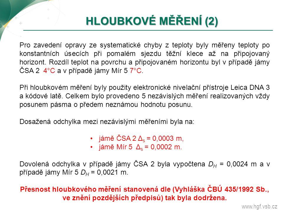 www.hgf.vsb.cz HLOUBKOVÉ MĚŘENÍ (2) HLOUBKOVÉ MĚŘENÍ (2) Pro zavedení opravy ze systematické chyby z teploty byly měřeny teploty po konstantních úsecí