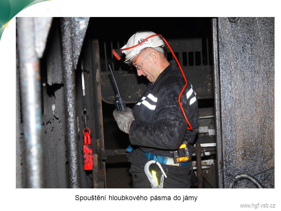 www.hgf.vsb.cz Spouštění hloubkového pásma do jámy