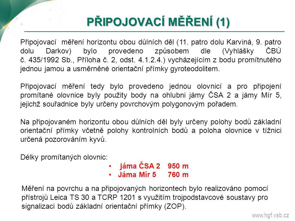 www.hgf.vsb.cz PŘIPOJOVACÍ MĚŘENÍ (1) PŘIPOJOVACÍ MĚŘENÍ (1) Připojovací měření horizontu obou důlních děl (11. patro dolu Karviná, 9. patro dolu Dark